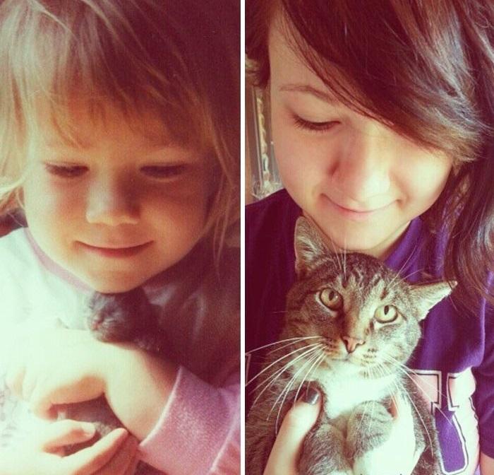 Кот Чуй спустя 15 лет все так же обожает свою маленькую хозяйку.