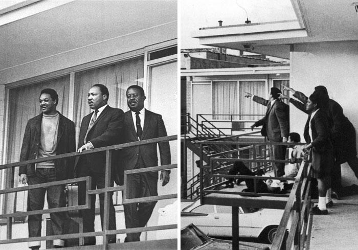 Американский правозащитник на фото слева стоит на балконе с лидерами движения за гражданские права, через день был убит Джеймсом Эрлом Реем практически на том же месте (фото справа).