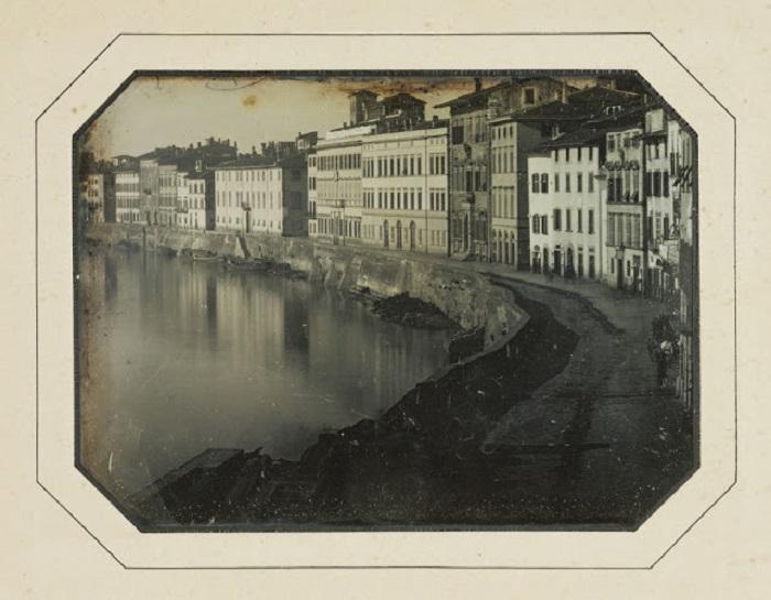 Вид Пизы вдоль реки Арно, 1844 год.