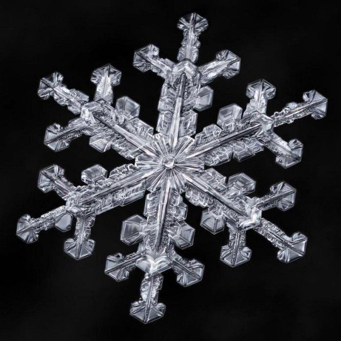 Крохотная снежинка до того, как она растает во всем своем великолепии.