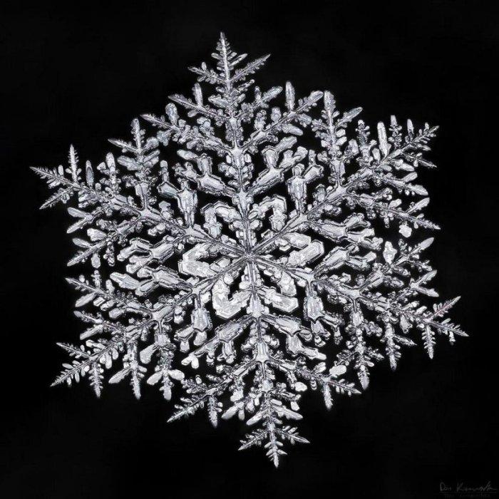 Снежинка переливается на свету драгоценными камнями.