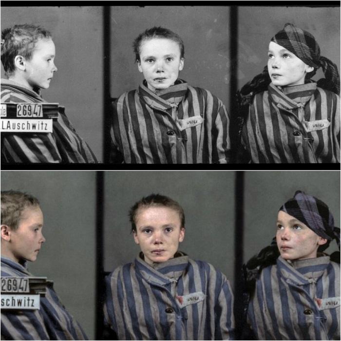 Учетная фотокарточка девочки-узницы концлагеря Освенцим.