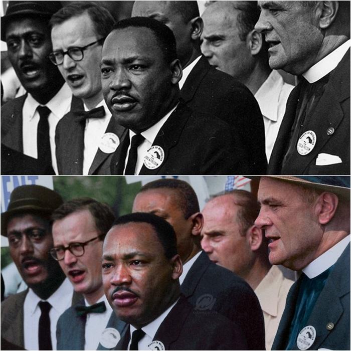 Мартин Лютер Кинг-младший, президент Южной конференции христианского руководства, и Мэтью Ахманн, директор Национальной католической конференции за межрасовую справедливость.