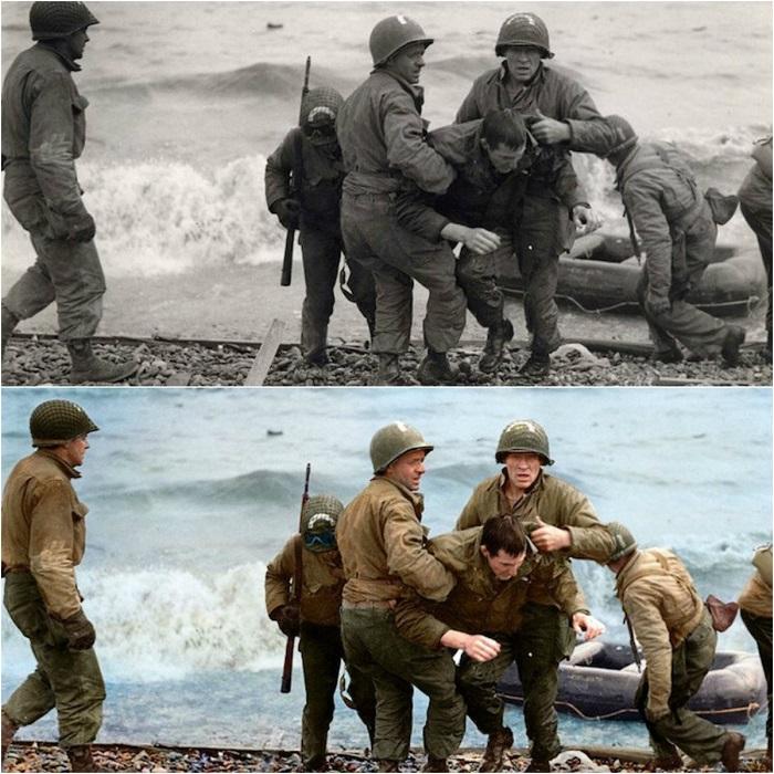 Медики из 5-й и 6-й специальных бригад инженеров помогают раненому солдату на пляже Омаха.