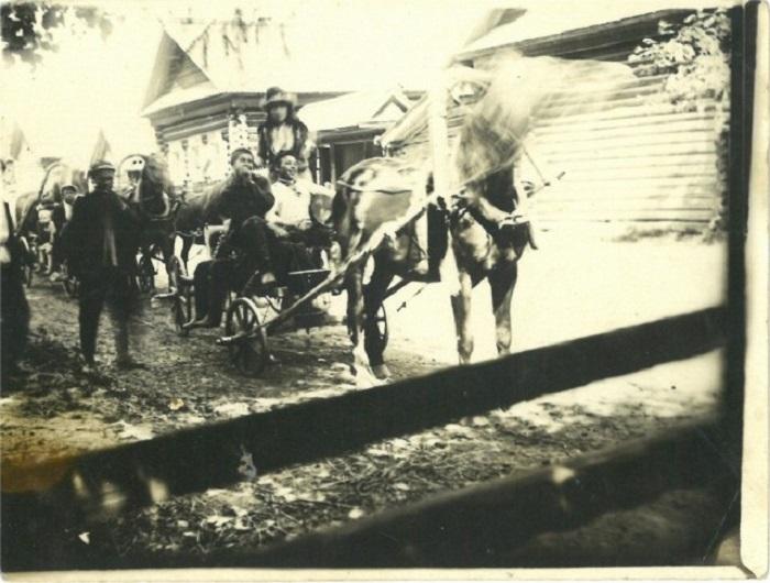 Лучшие кони и экипажи деревни собрались в свадебный поезд для сопровождения молодоженов.