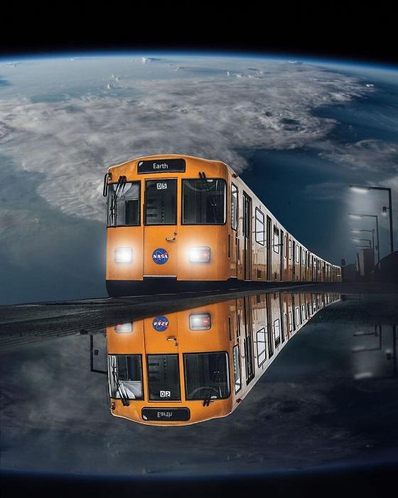 Обычный поезд на Землю, в котором можно добраться до планеты всего лишь за несколько часов – визуализация мечты о будущем.