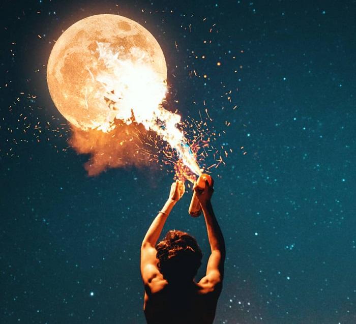 С помощью умелой фотоманипуляции и баллончика можно с легкостью зажечь даже Луну!