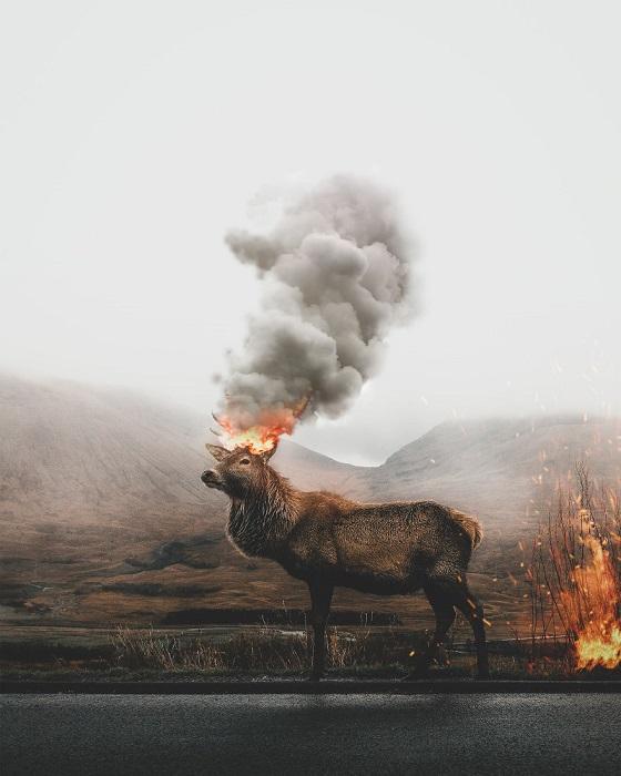 Грозный и беспощадный Красный олень, который уничтожает все вокруг, символизирует масштабные и опустошающие стихийные пожары.