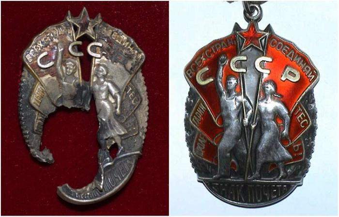 Солдатский знак почёта, принявший на себя пули и осколки.