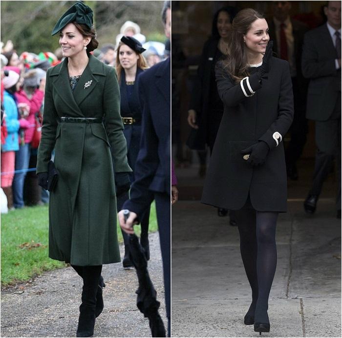 Слева - Кейт в зеленом элегантном пальто и прелестной шляпке. /Фото: dekabrist.net Справа – Герцогиня Миддлтон кашемировом черном пальто. /Фото: pinterest.ru
