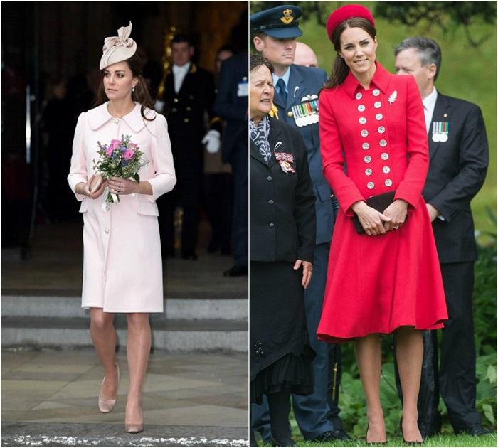 Слева - Кейт в элегантном наряде от Alexander McQueen. /Фото: newsoboz.org Справа – Принцесса Миддлтон в алом платье-пальто Catherine Walker. /Фото: israwoman.com