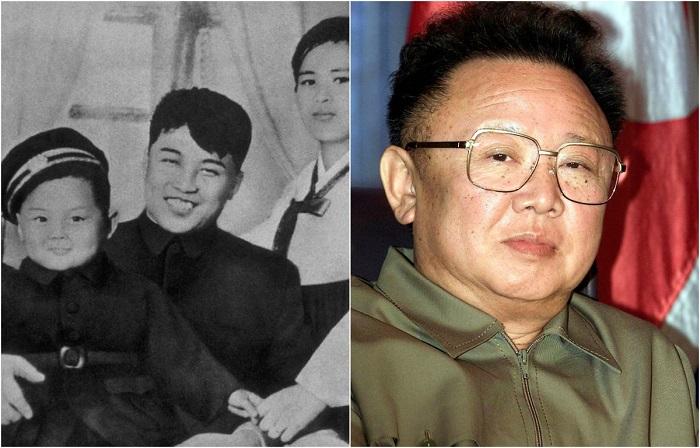 Ким на руках у своих родителей - Ким Ир Сена и Ким Чен Сук, 1945 год.
