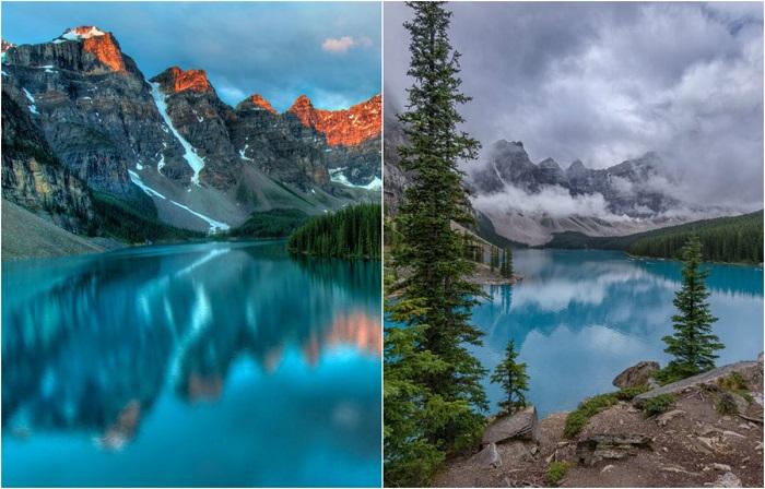 В синих водах озера Морейн, отражается десять огромных канадских вершин.