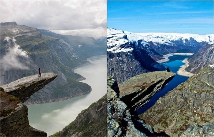 Пережить непередаваемые ощущения можно на обломке скалы, который находится над озеро Рингедалсватн.