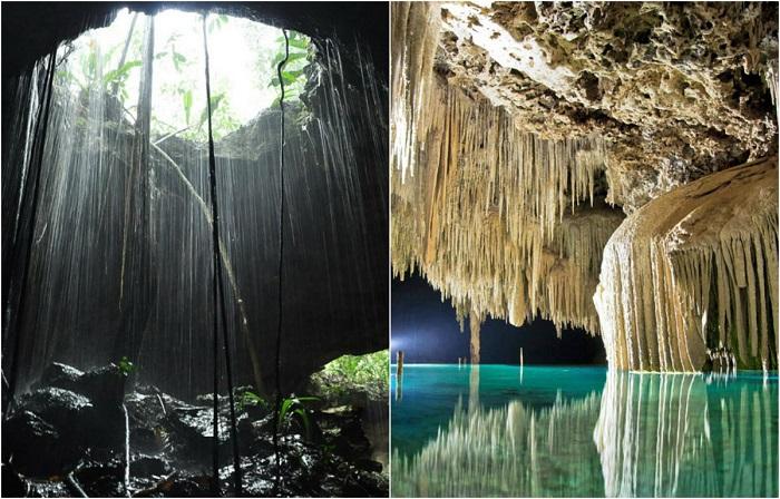 Чистейшая вода, туннели, пещеры, заполненные сталактитами и сталагмитами.