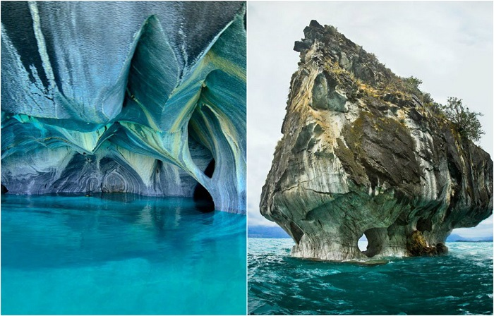 Пещеры из чистого мрамора, расположенные на границе двух стран Аргентины и Чили.