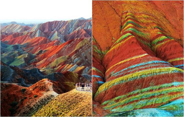 Цветные волны скал, образованные с помощью тысячелетних дождей и ветров.