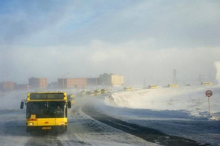 Для перевозки сотрудников «Норникеля» во время сильных ветров формируют автобусные колонны.