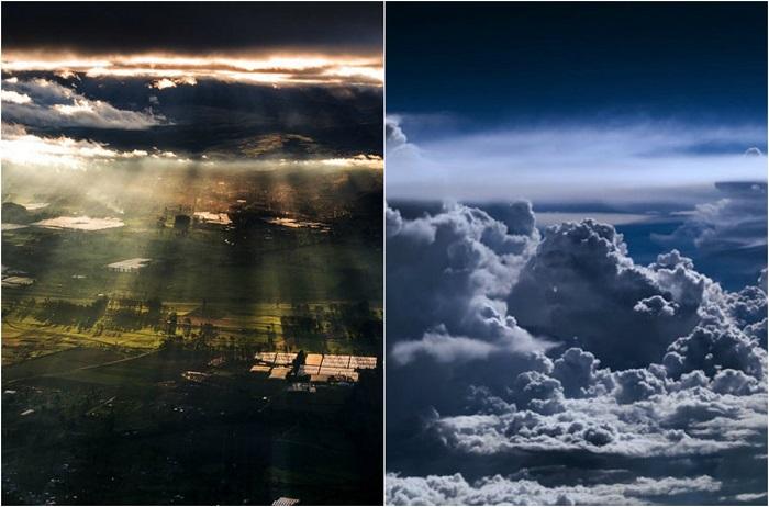 Фотографии, сделанные из кабины самолета над разными городами и странами.
