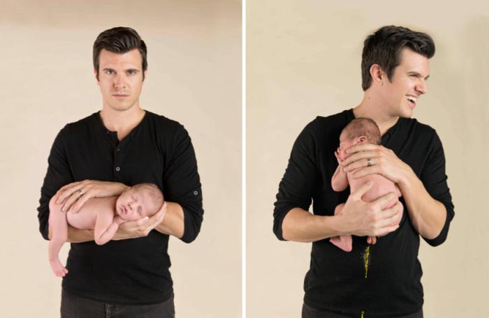 Младенец, разрядивший обстановку в фотостудии.