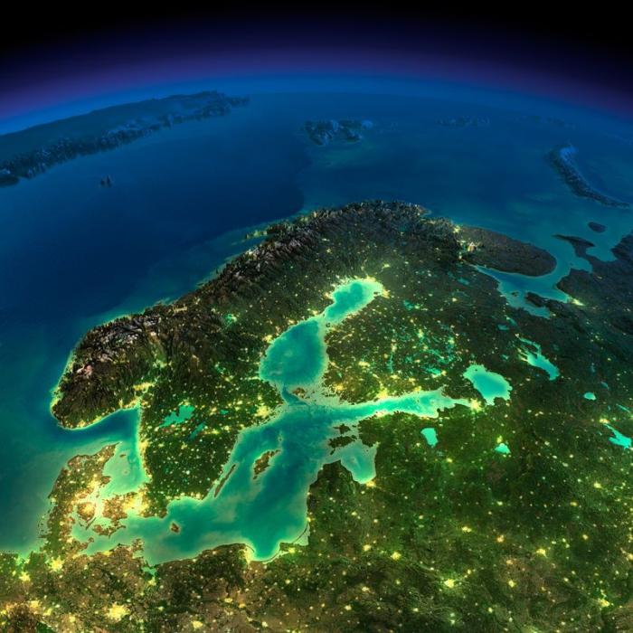 Удивительный виды Земли из космоса в ночное время.