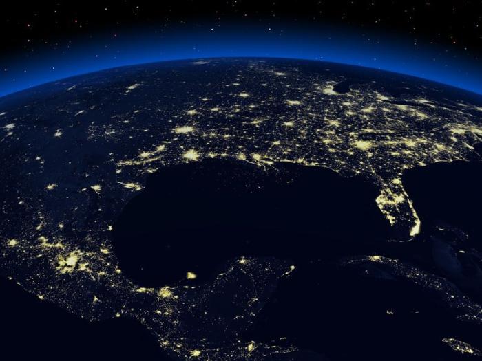 Ночная освещённость Земли.