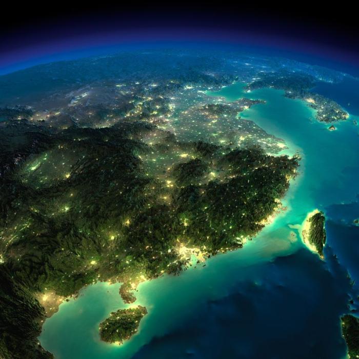 Захватывающая красота, простирающийся у границ Восточного Китая и Тайвани.