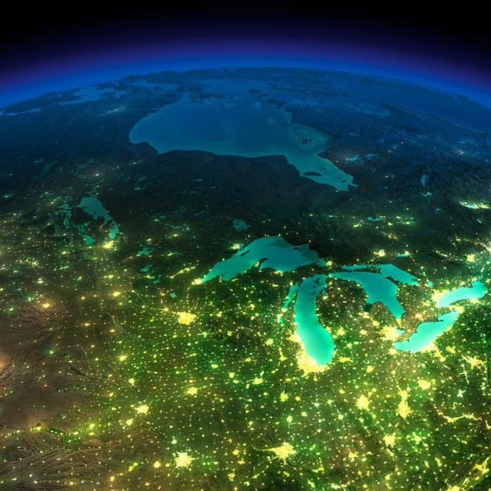 Ночной снимок Земли из космоса.