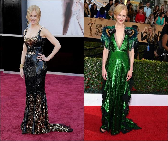 Слева – Кинозвезда в платье с открытыми плечами от L'Wren Scott. Справа - В гламурном платье Gucci.