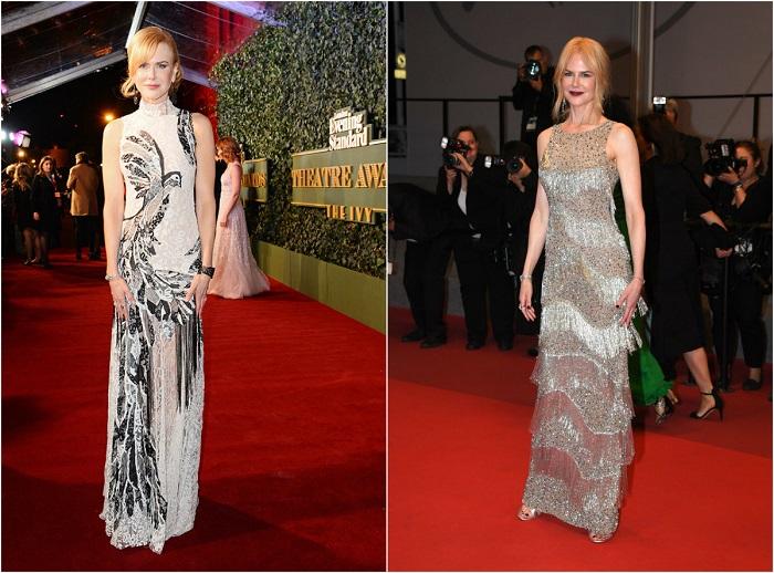 Слева – Кинозвезда в платье, выполненном в викторианском стиле, от Alexander McQueen. Справа - В роскошном наряде от Michael Kors Collection.
