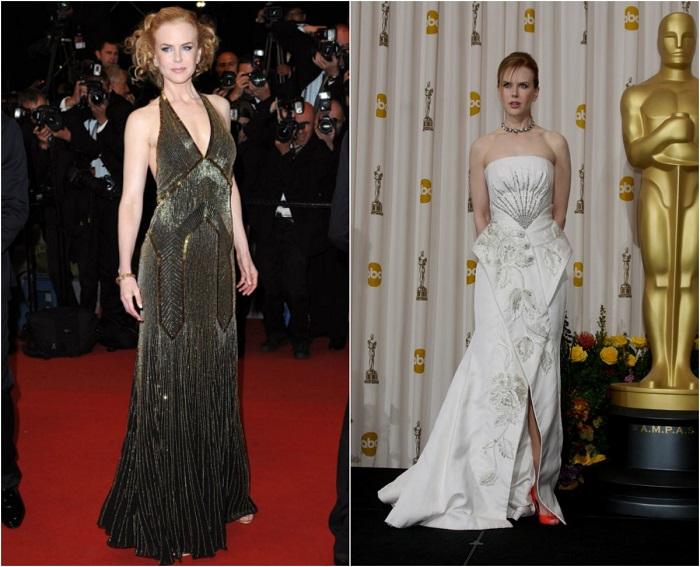 Слева – Звезда в платье от Ральфа Лорена. Справа – В вечернем наряде украшенном ручной вышивкой от Armani Prive.
