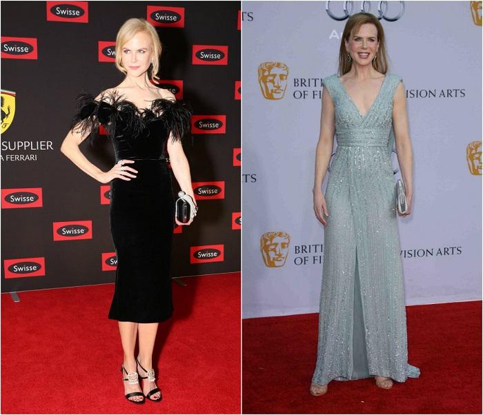 Слева – Австралийская актриса в черном платье от Swisse Wellness. Справа - В нежно-голубом наряде от Elie Saab.