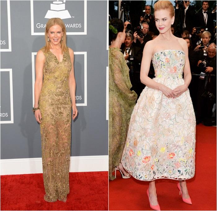 Слева – Актриса в золотистом кружевном платье Vera Wang. Справа - В изящном платье-бюстье из органзы c цветочной вышивкой из весенней коллекции Dior.