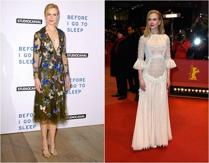 Слева – Кидман в стильном платье, расшитом бабочками от Valentino Couture. Справа – В нежно-розовом платье из женской коллекции ValentinoCouture.