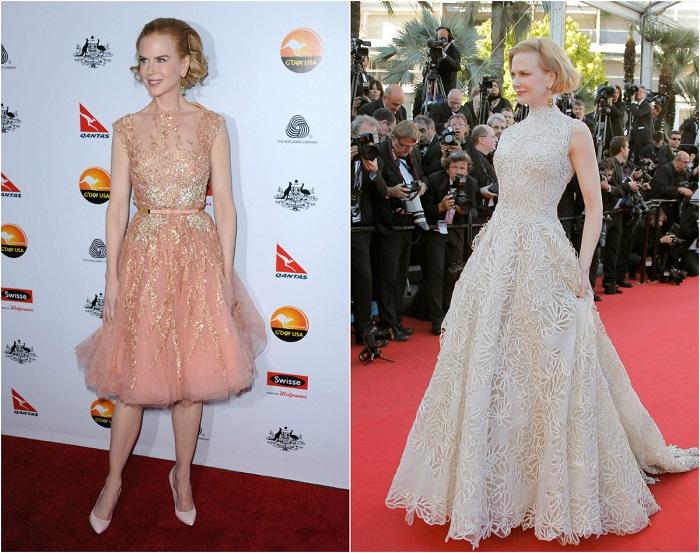 Слева – Николь в изысканном платье Elie Saab Couture. Справа – В роскошном платье в пол от Valentino.