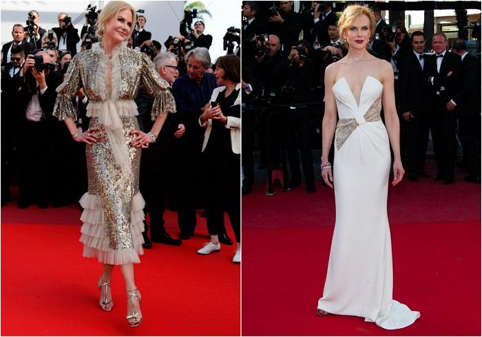 Слева - Актриса в великолепном наряде Rodarte. Справа – В белоснежном платье-бюстье от Giorgio Armani.