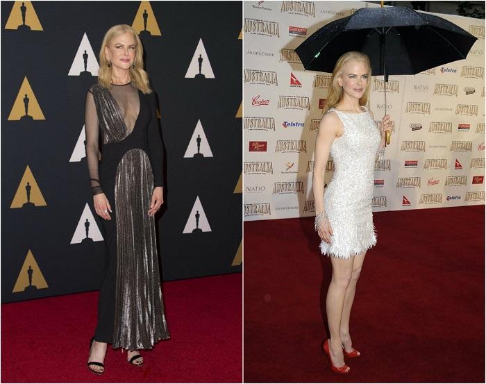 Слева - Николь Кидман в платье коллекции Christopher Kane. Справа – В белом коктейльном платье.
