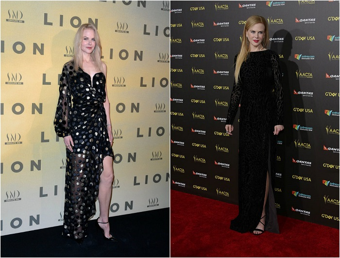 Слева – Знаменитость в очаровательном платье в крупный горох с оголенным плечом. Справа – В элегантном вечернем платье с разрезом.