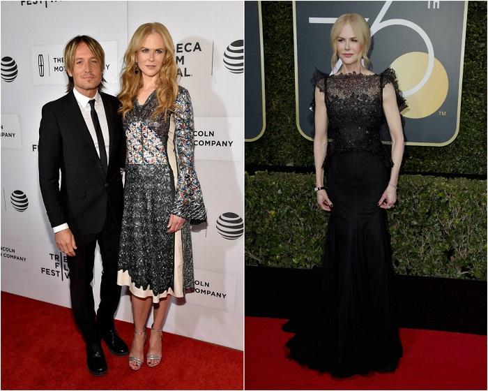 Слева – Кидман в блестящем платье от Louis Vuitton. Справа - В великолепном наряде от Givenchy.