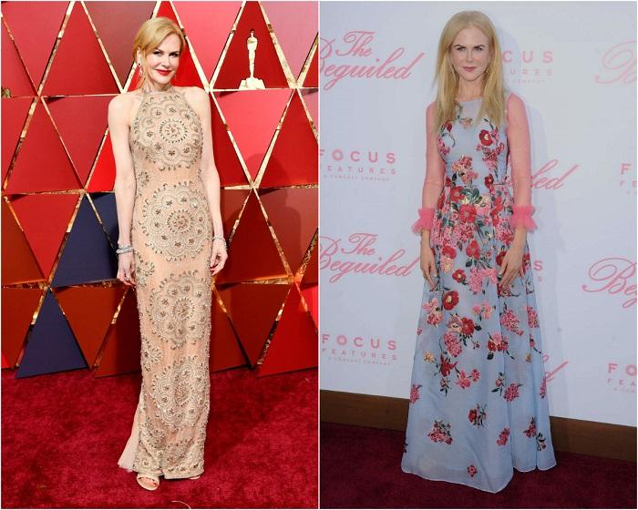 Слева - Николь на красной дорожке в платье Armani Privе. Справа – В великолепном наряде с цветочным принтом из круизной коллекции Carolina Herrera.