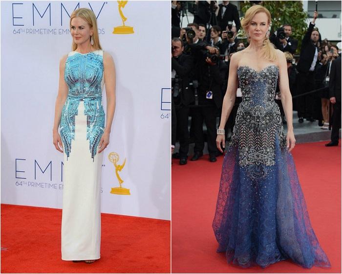 Слева - Николь в платье от Antonio Berardi. Справа – В вечернем наряде от Armani.