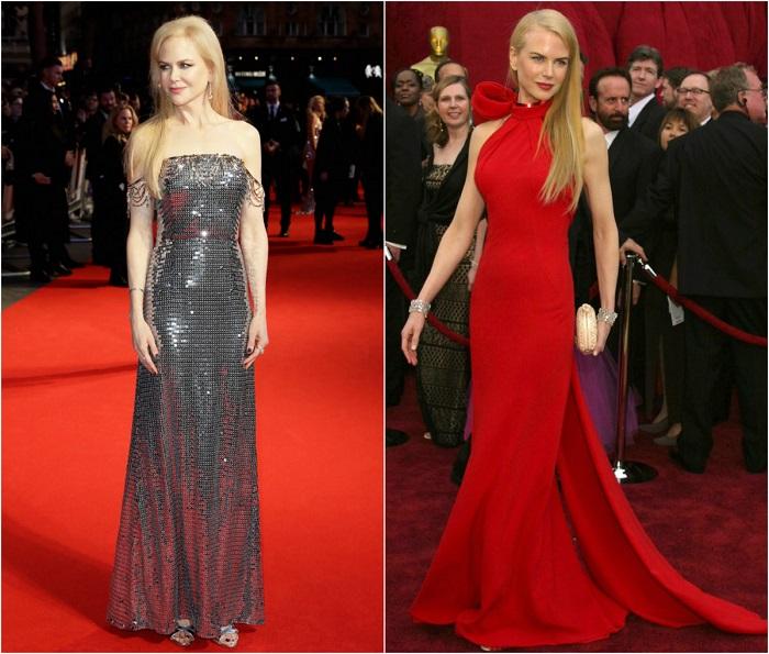Слева – Кинозвезда в серебряном платье с открытыми плечами Prada. Справа – В элегантном красном наряде Balenciaga.