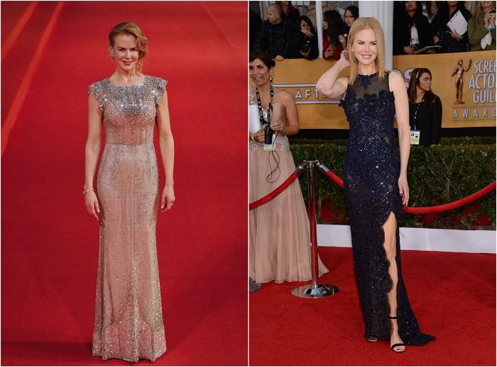 Слева – Кинодива современности в ослепительном платье Dolce & Gabbana. Справа – В кружевном платье, идеально подчеркивающем фигуру от Vivienne Westwood.
