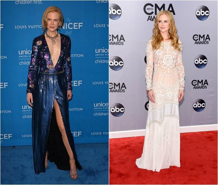 Слева – Любимица публики в откровенном наряде от Louis Vuitton. Справа - В романтическом легком платье с цветочными узорами от Roberto Cavalli.