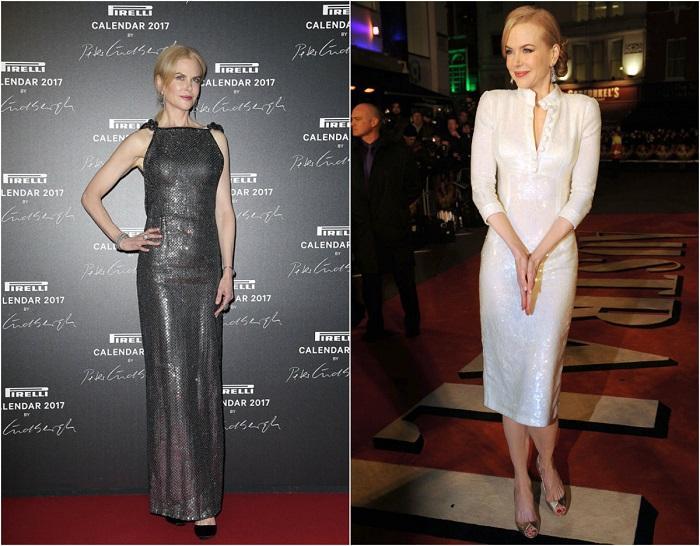 Слева – Кидман в ослепительном платье цвета металик от Giorgio Armani. Справа – В белом элегантном наряде от L'Wren Scott.