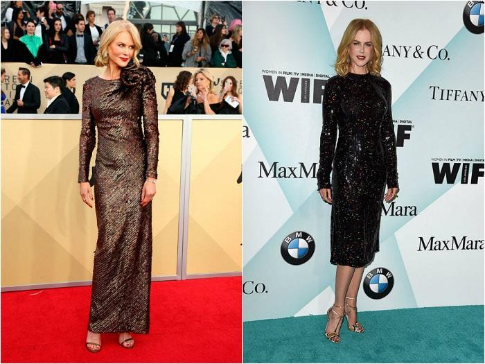Слева - Кинодива современности в платье из коллекции Armani. Справа – В закрытом ослепительном платье миди-длины.