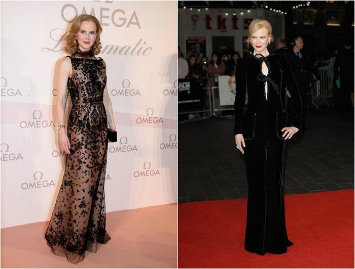 Слева – Николь в вечернем платье из новой коллекции Oscar de la Renta. Справа - В роскошном наряде от Armani Prive.