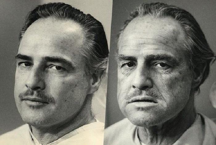 Марлон Брандо до и после грима на съемках фильма Крестный отец.