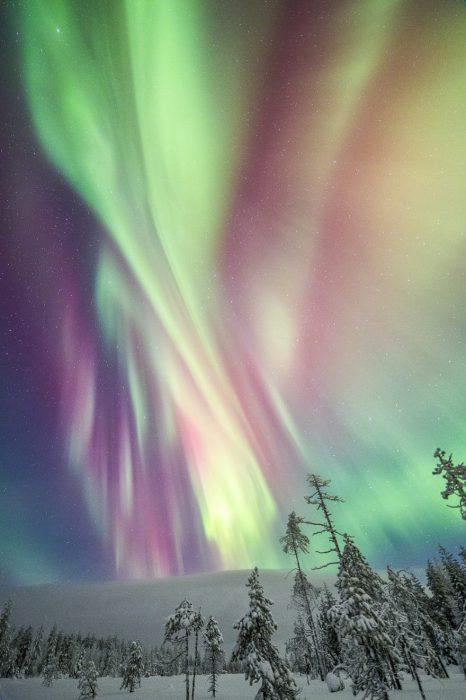Мистическое сияние льет свой свет над заснеженными лесами и холмами.