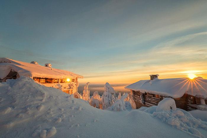 Золотистые лучи заходящего солнца освещают верхушки деревьев и крыши деревянных домов.